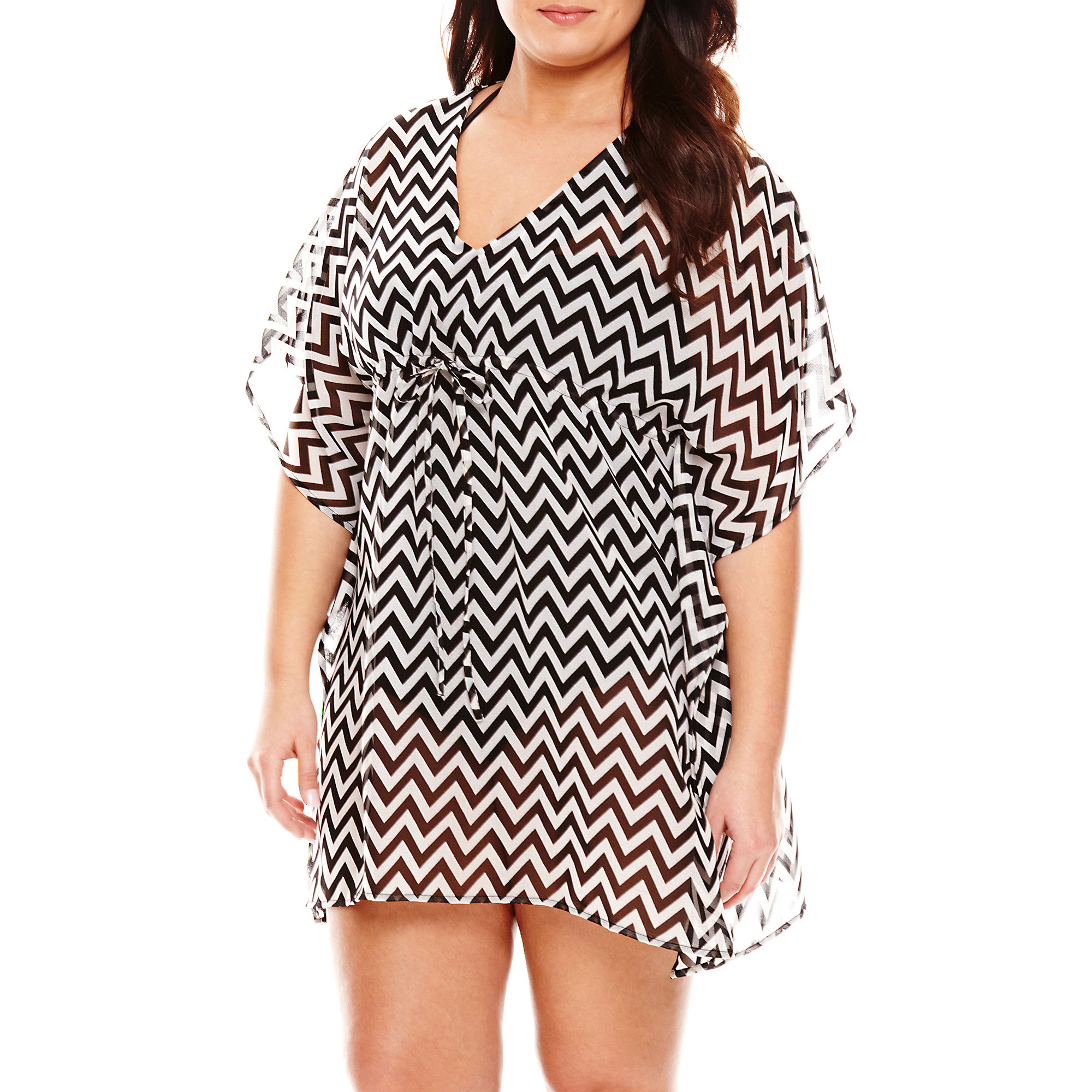 Raviya Chevron Chiffon Tunic Swim Cover-Up - Plus plus size,  plus size fashion plus size appare
