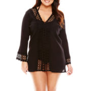 Raviya Long-Sleeve Crochet-Trim Gauze Tunic Swim Cover-Up - Plus