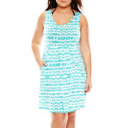 Porto Cruz® Sleeveless Tie-Dye Tank Dress Swim Cover-Up - Plus