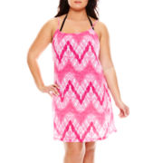 Porto Cruz® Sleeveless Braided Strap Tie-Dye Dress Swim Cover-Up - Plus