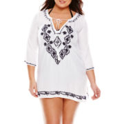 Raviya 3/4-Sleeve Embroidered Tunic Swim Cover-Up - Plus
