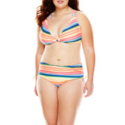 Breaking Waves Mexican Blanket Swim Top and Side-Tie Swim Bottoms - Plus