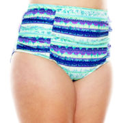 Breaking Waves Free Spirited Tie-Dye Shirred High-Waist Swim Bottoms - Plus