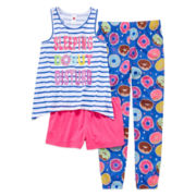 Total Girl® 3-pc. Sleeveless Graphic Pajama Set - Girls 7-16