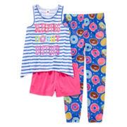 Total Girl® 3-pc. Sleeveless Graphic Pajama Set - Girls 7-16