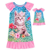 For Me And My Dream Doll Short-Sleeve Graphic Cat Nightgown Set - Girls 7-16