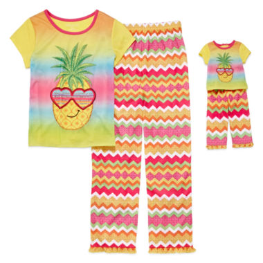 jcpenney.com | For Me and My Dream Doll 4-pc. Short-Sleeve Pineapple Pajama Set - Girls 7-16