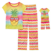 For Me and My Dream Doll 4-pc. Short-Sleeve Pineapple Pajama Set - Girls 7-16
