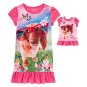 For Me and My Dream Doll Short-Sleeve Graphic Dog Nightgown Set - Girls 7-16