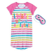 Sleep On It Awesome Striped Dorm Nightshirt - Girls 7-16