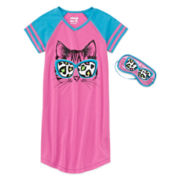 Sleep On It Cat Dorm Nightshirt Set - Girls 7-16