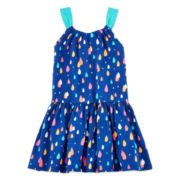 Okie Dokie® Sleeveless Gathered Printed Dress - Preschool Girls 4-6x