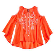 Arizona Long-Sleeve Embroidered Cold-Shoulder Top - Girls 7-16