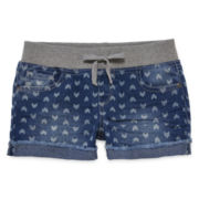 Arizona Denim Print Rolled Hem Shortie Shorts - Girls 7-16 and Plus
