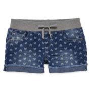 Arizona Denim Print Rolled Hem Shortie Shorts - Girls 7-16 and Plus
