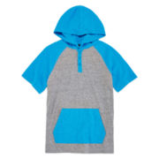 Arizona Short-Sleeve Hooded Henley Shirt - Boys 8-20