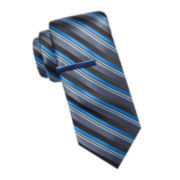 JF J. Ferrar® Tom Colored Stripe Tie and Tie Bar Set - Slim