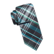 JF J. Ferrar® Rubino Colored Plaid Tie and Tie Bar Set - Slim