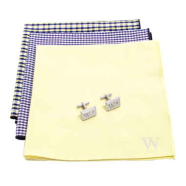 jcpenney.com | Personalized Gingham Handkerchief Set with Zircon Jewel Cufflinks