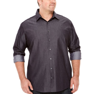 jcpenney.com | Claiborne® Long-Sleeve Chambray Button-Front Cotton Shirt - Big & Tall