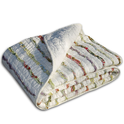 Greenland Home Fashions Bella Ruffle Quilted Cotton Throw