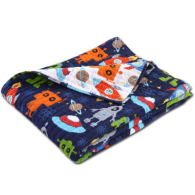 jcpenney.com | Greenland Home Fashions Robots in Space Quilted Cotton Throw