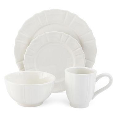 jcpenney.com | JCPenney Home™ Ashley Scalloped Stoneware 16-pc. Ivory Dinnerware Set