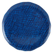Outdoor Oasis™ Blue Hatch Melamine Round Serving Tray