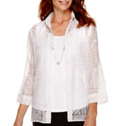 Alfred Dunner® Port Antonio 3/4-Sleeve Burnout Layered Top