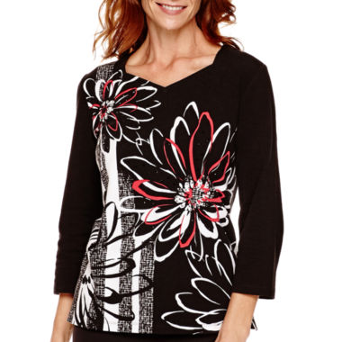jcpenney.com | Alfred Dunner® Port Antonio 3/4-Sleeve Printed Top