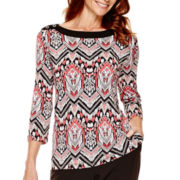 Alfred Dunner® Port Antonio 3/4-Sleeve Print Top
