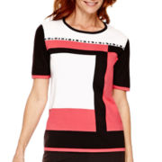 Alfred Dunner® Port Antonio Short-Sleeve Colorblock Sweater