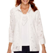 Alfred Dunner® Flower Power 3/4-Sleeve Burnout Layered Top