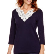 Alfred Dunner® Flower Power 3/4-Sleeve Yoke Trim Top
