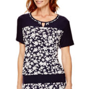Alfred Dunner® Flower Power Short-Sleeve Print Top