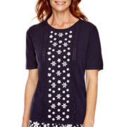 Alfred Dunner® Flower Power Short-Sleeve Embroidered Sweater