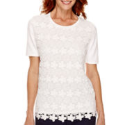 Alfred Dunner® Flower Power Short-Sleeve Lace Sweater