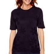 Alfred Dunner® Flower Power Short-Sleeve Shell Sweater