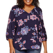 St. John's Bay® 3/4-Sleeves Rayon V-Neck Blouse - Plus