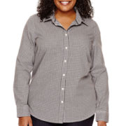 St. John's Bay® Wrinkle-Free Button-Front Shirt