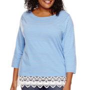 St. John's Bay® 3/4-Sleeve Lace-Hem T-Shirt - Plus