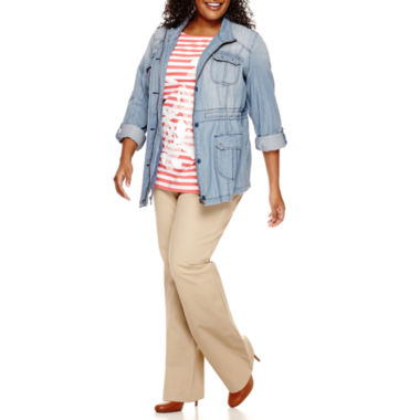 jcpenney.com | St. John's Bay® Chambray Anorak And 3/4 Sleeve Lace Applique Tee And Bi-Stretch Pant - Plus
