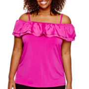 Worthington® Sleeveless Ruffle Top - Plus