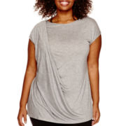 Worthington® Cap-Sleeve Drape-Front T-Shirt - Plus
