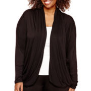 Worthington® Long-Sleeve Draped Cozy Sweater - Plus