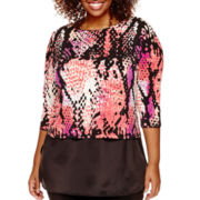 Worthington® 3/4-Sleeve Layered-Look Top - Plus