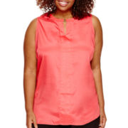 Worthington® Sleeveless Tunic with Metal Accent - Plus