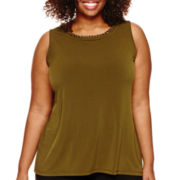 Worthington® Sleeveless Chain-Neck Top - Plus