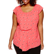 Worthington® Short-Sleeve Asymmetrical Blouse - Plus