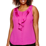 Worthington® Sleeveless Ruffle-Front Blouse - Plus